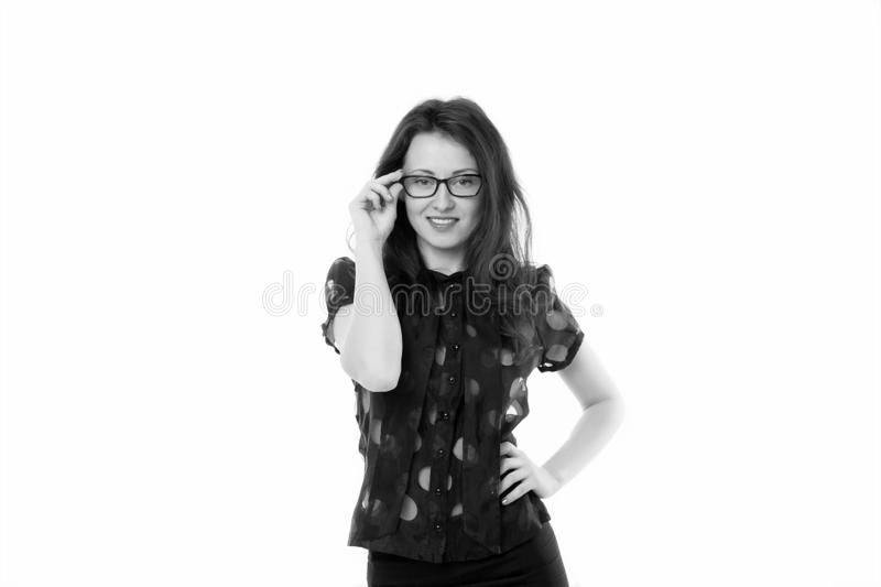 Feeling sexy. Female business concept. Confident business manager. Woman eyeglasses attractive teacher or lecturer stock photos