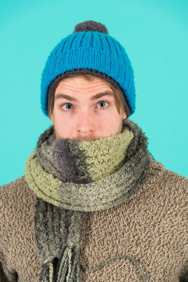 Feeling sick and cold. he caught a cold. male knitwear fashion. men knitted accessory. poor homeless man. frozen man royalty free stock photography