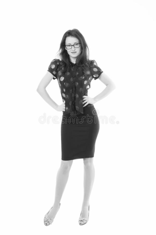 Feeling successful independent woman. Lady business coach. Woman attractive teacher or lecturer. Business lady smart stock image