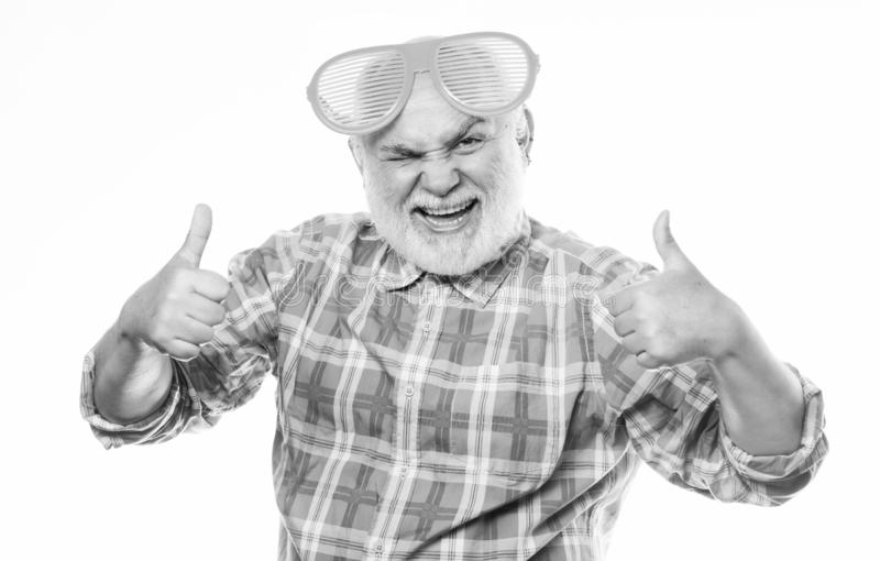 Feeling successful. mature bearded man isolated on white. happy man with beard. retirement party. anniversary. holiday stock photo
