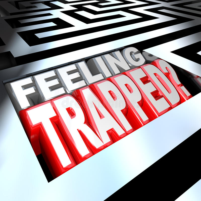 Feeling Trapped Maze Labyrinth Confused by Puzzle. 3d illustrated words Feeling Trapped in a maze to represent the difficulty of a hard problem or trouble that vector illustration