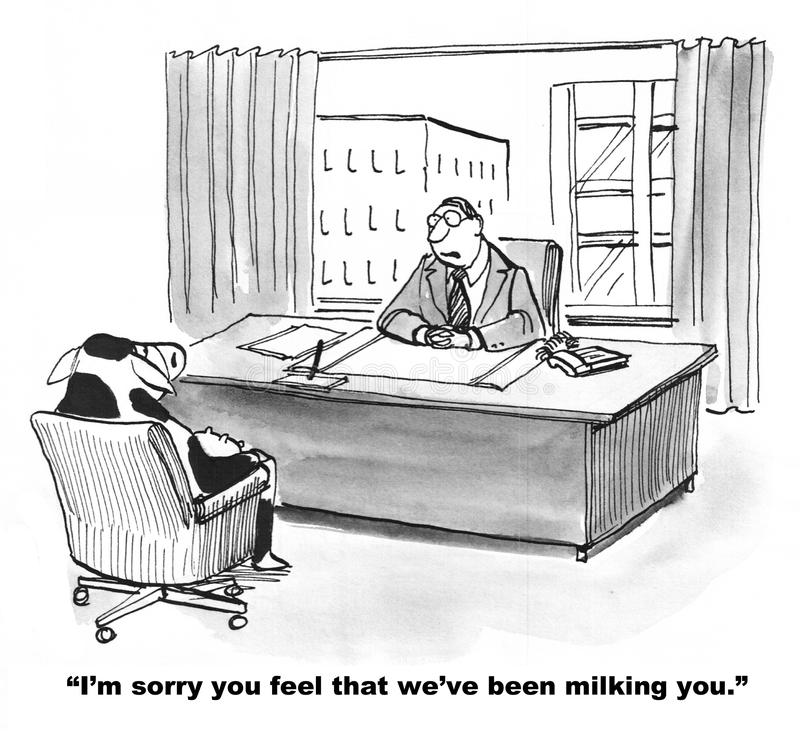 Feeling Used. Business cartoon about corporate culture. The business cow feels she is being milked by the company vector illustration
