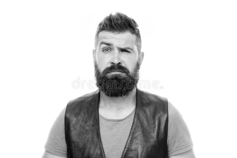 Feeling weird. Hipster mature guy with beard brutal guy. Masculinity concept. Barber shop and beard grooming. Styling. Beard and moustache. Fashion trend beard stock photo