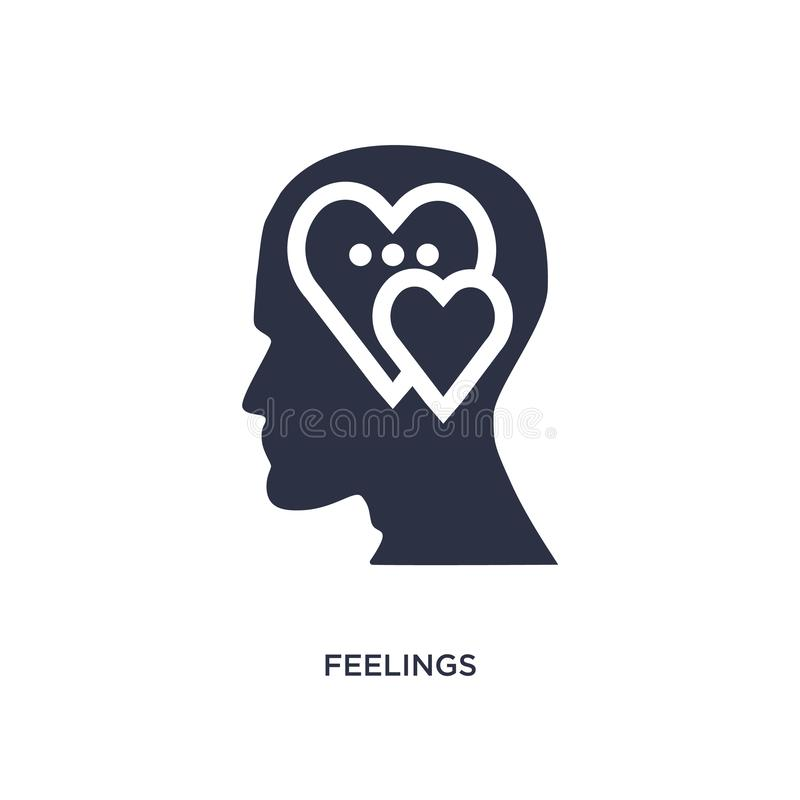 feelings icon on white background. Simple element illustration from brain process concept stock illustration