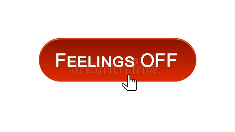 Feelings off web interface button red color, internet site design, online. Stock footage stock illustration
