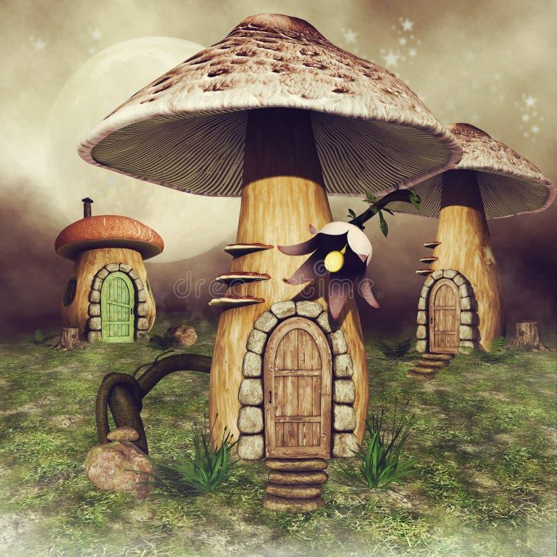 Feenhafte Häuser des Pilzes auf einer Wiese stock abbildung