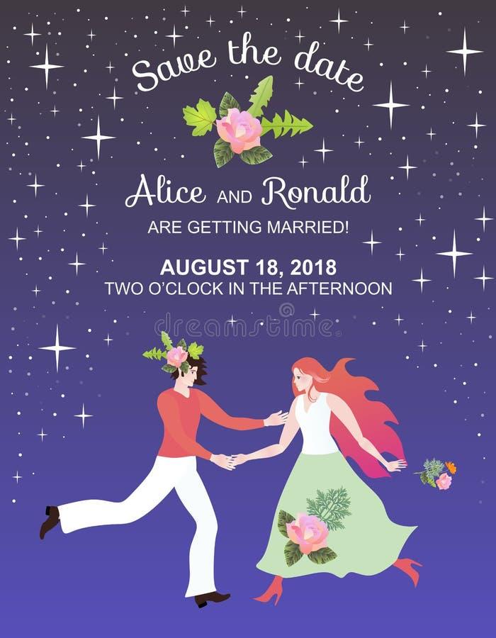 Feenhafte Hochzeitseinladungs-Kartenschablone mit schönem Mann und Frau in der sternenklaren Nacht stock abbildung