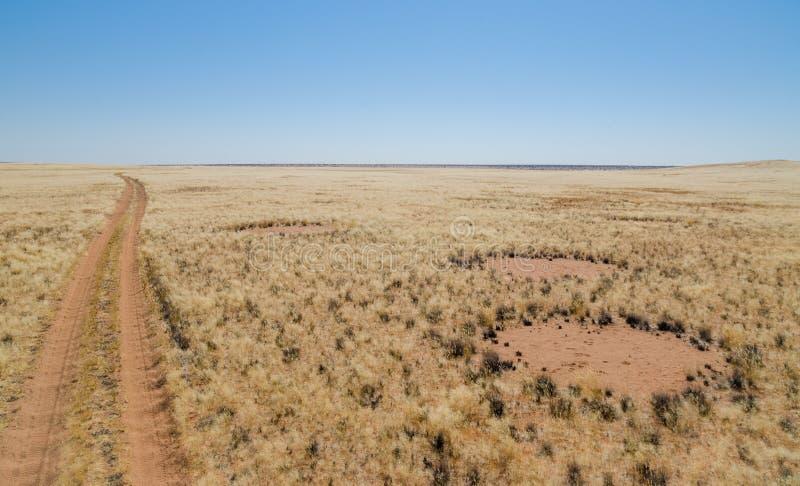 Feenhafte Kreise nahe bei Schotterweg, ein berühmtes natürliches Phänomen, Damaraland, Namibia-südlicher Afrika lizenzfreies stockfoto