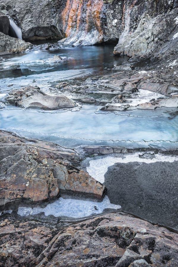 Feenhafte Pools im Winter auf der Insel von Skye lizenzfreie stockfotos