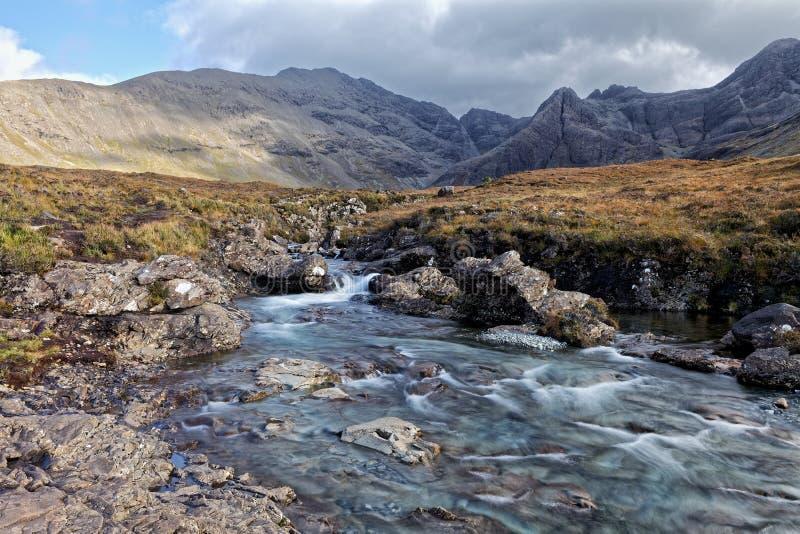 Feenhafte Pools, Insel von Skye, Schottland stockbilder