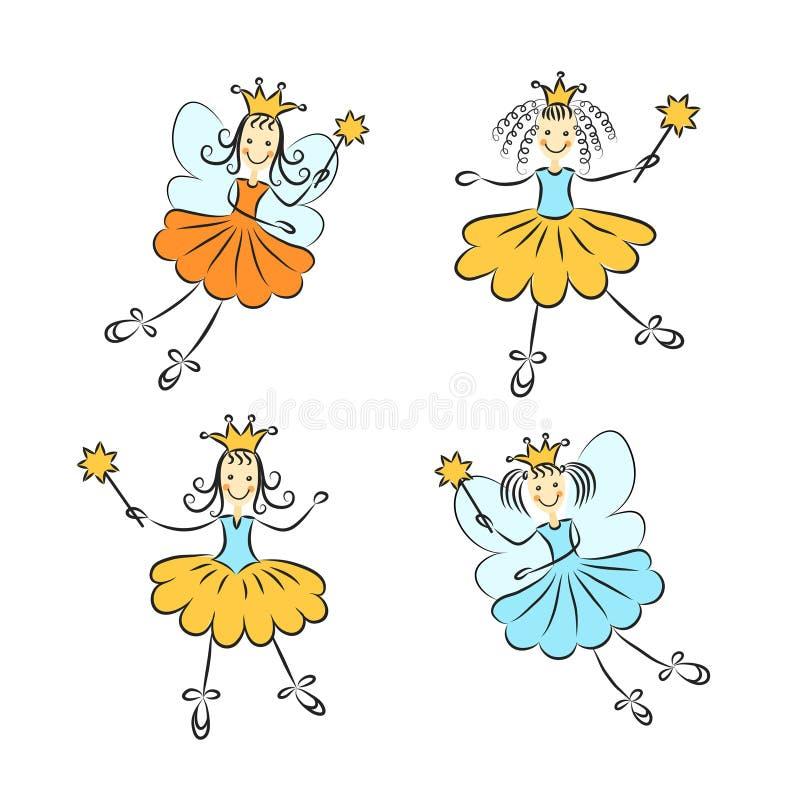 Feenhafte Prinzessin mit einem magischen Stabsvektorsatz lizenzfreie abbildung