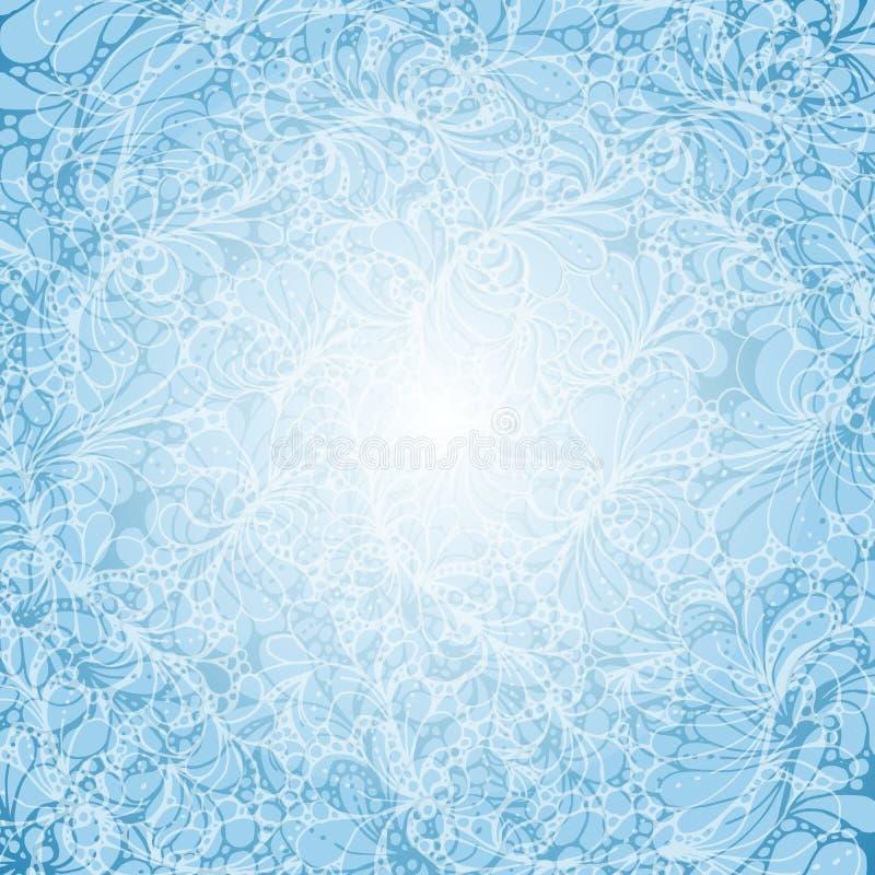 Feenhafter blauer Hintergrund mit boho Verzierung oder Gekritzelmuster Mit Illustration Raum für Text stock abbildung