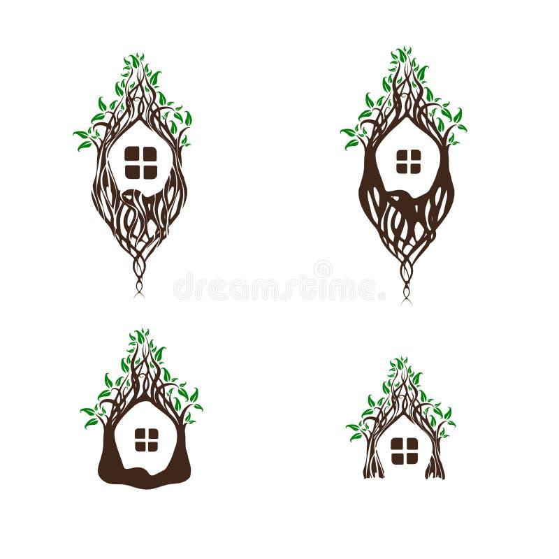 Feenhafter magischer Baum-Haus-Satz lizenzfreie abbildung