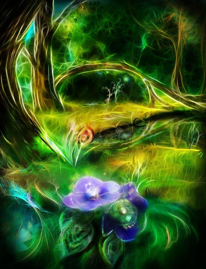 Feenhafter magischer Wald, ein gefallener Baum nahe dem See vektor abbildung