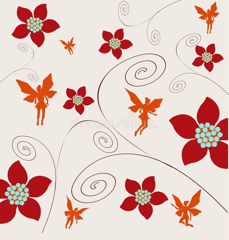 Feenhafter mit Blumenhintergrund vektor abbildung