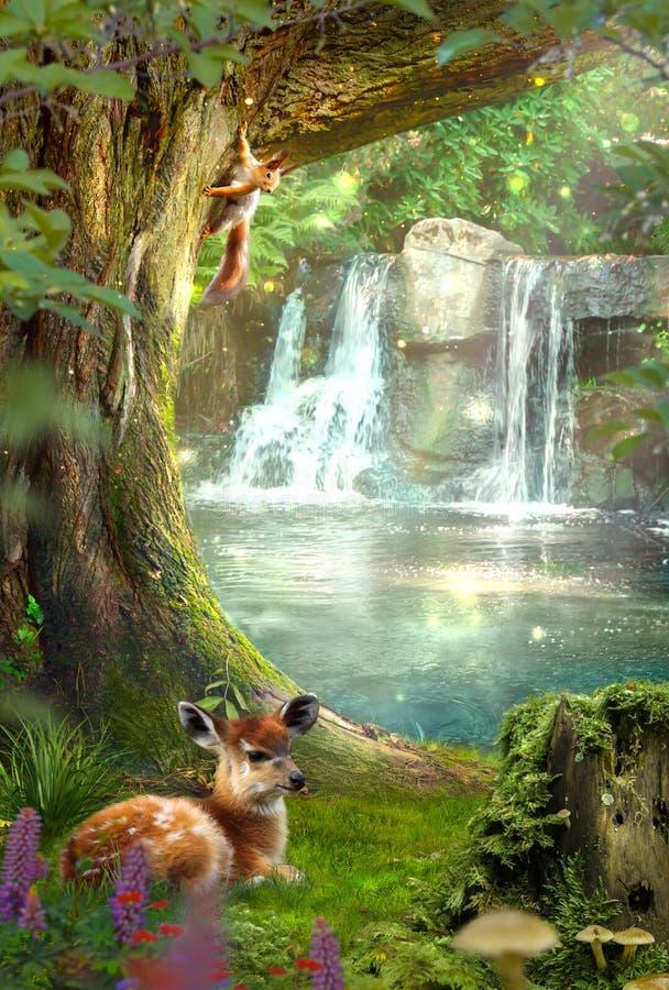 Feenhafter Wald mit einem Wasserfall Rotwild, die auf dem Gras liegen Eichh?rnchen, das auf einem Baum sitzt lizenzfreies stockbild