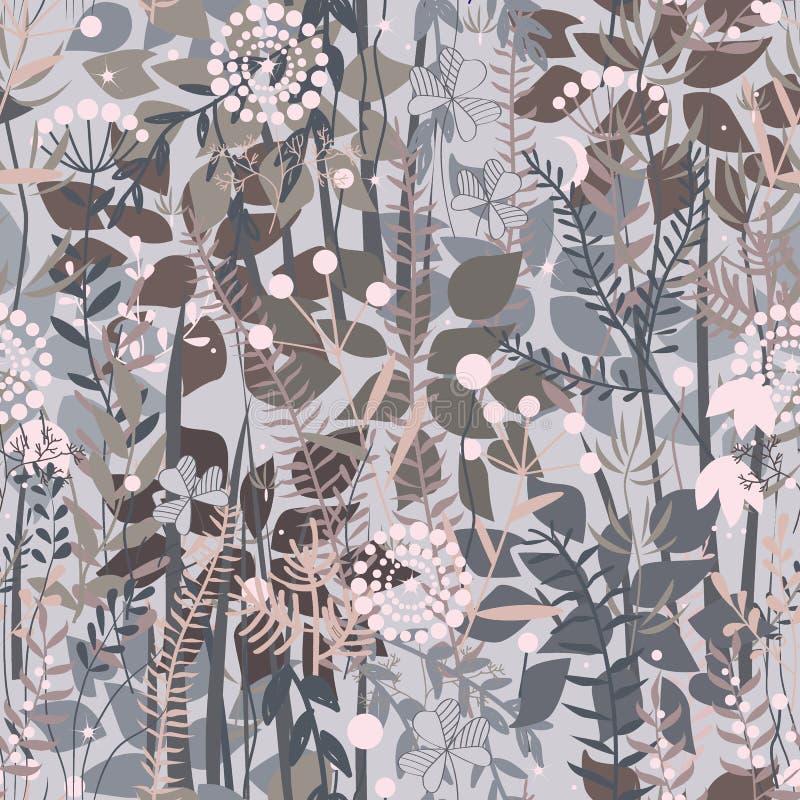 Feenhafter Waldhintergrund Nahtloses mit Blumenmuster mit Gekritzelanlagen, -blumen, -büschen und -gras Angenehmes Pastellgraues, lizenzfreie abbildung
