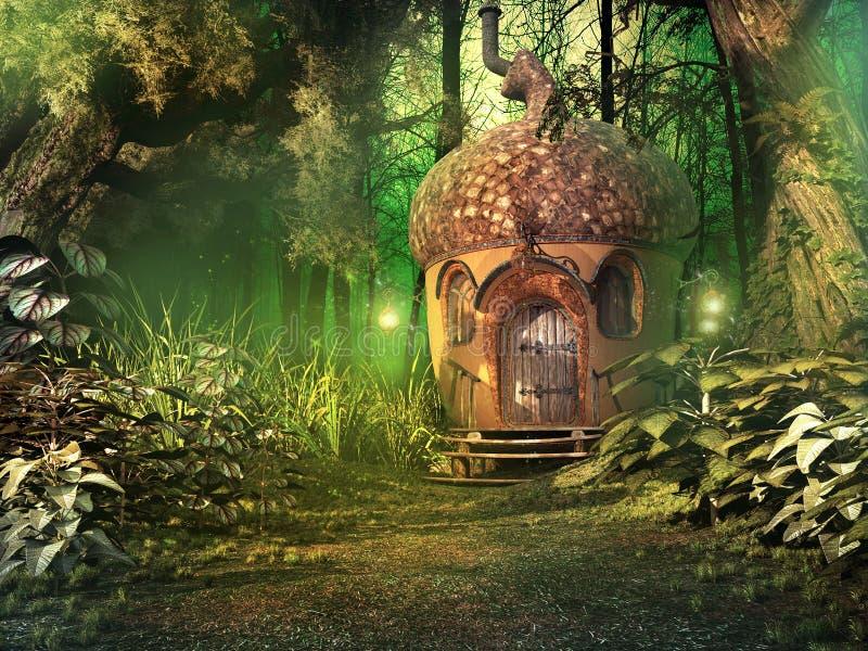 Feenhaftes Haus im tiefen Wald lizenzfreie abbildung