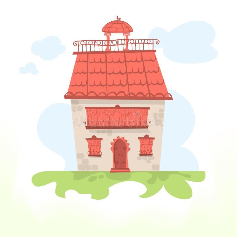 Feenhaftes Haus mit einem mit Ziegeln gedeckten Dach und einem jungen Hahn lizenzfreie abbildung