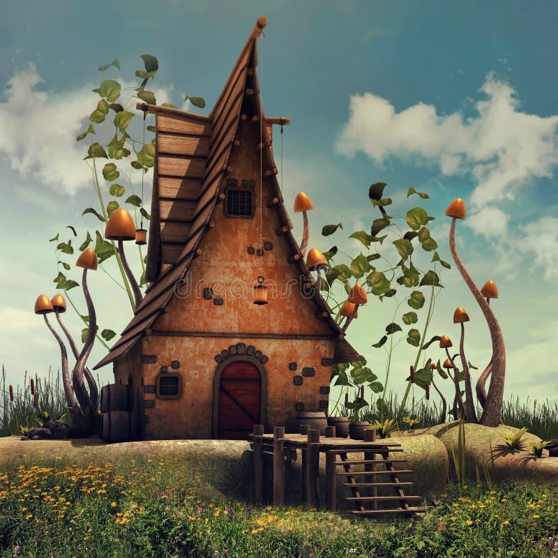 Feenhaftes Haus mit Pilzen und Efeu vektor abbildung