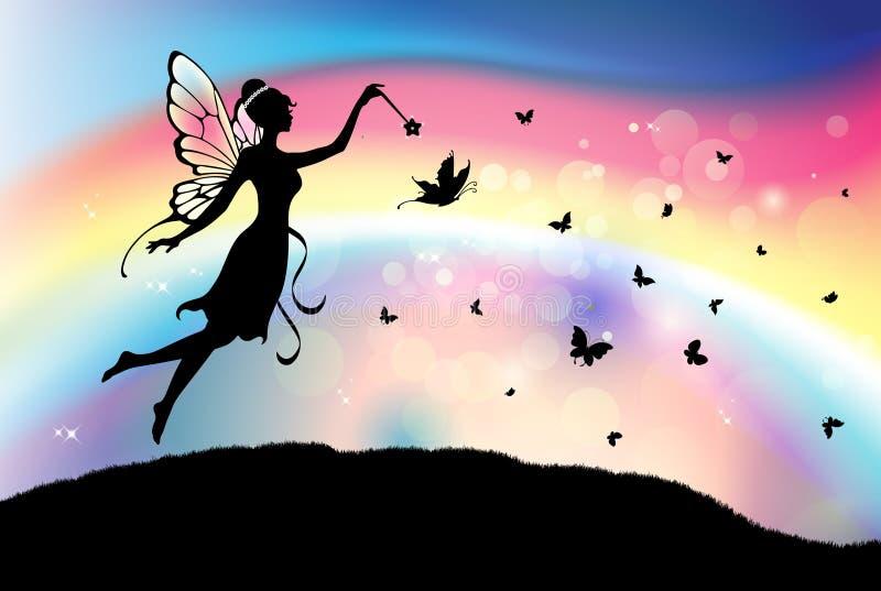 Feenhaftes Schmetterlingsschattenbild mit magischem Stabsregenbogen-Himmelhintergrund lizenzfreie abbildung