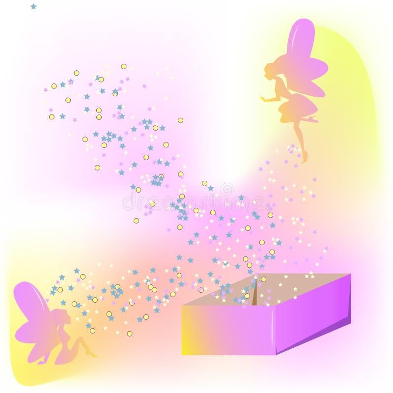Feer och magisk ask stock illustrationer