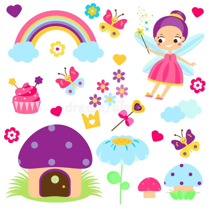 Feereeks Inzameling van het ontwerpelementen van het beeldverhaalsprookje Regenboog, paddestoelhuis, bossymbolen Stickers, klemku royalty-vrije illustratie