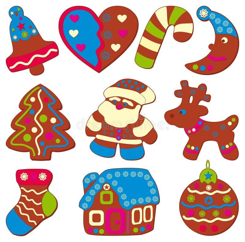 Feest of Kerstmiskoekjes royalty-vrije illustratie