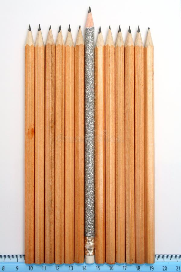 Feest potlood in het midden van gebruikelijke potloden royalty-vrije stock afbeelding
