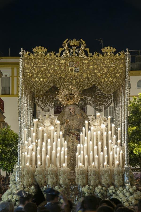 Feest van de Heilige week of de Pasen in de stad van Sevilla stock afbeeldingen