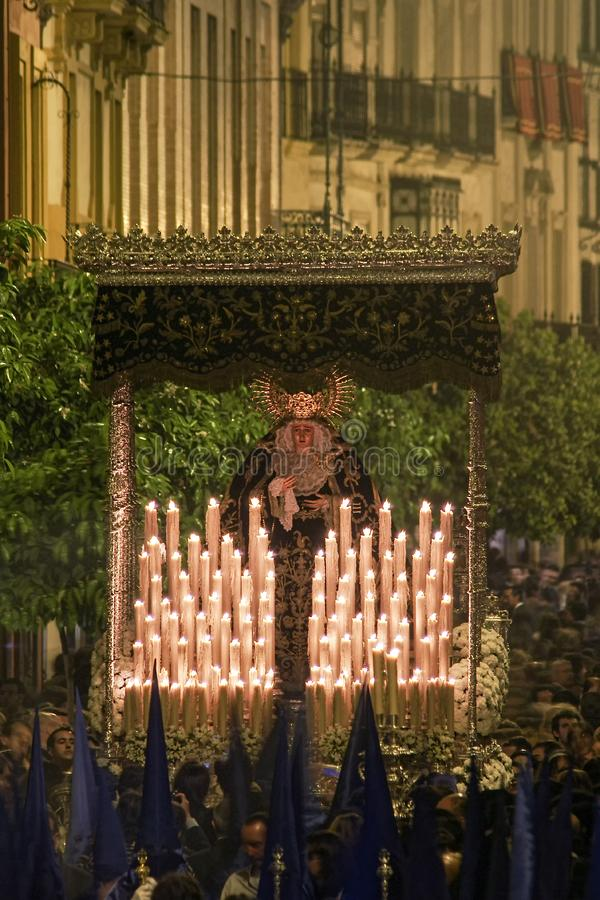 Feest van de Heilige week of de Pasen in de stad van Sevilla royalty-vrije stock foto