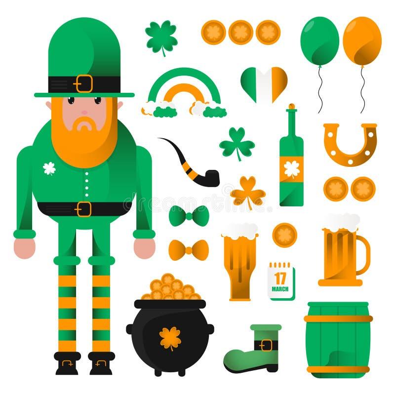 Feest van Heilige Patrick Kabouter, bier en klaver, vlakke vectorpictogramreeks Kaart voor St Patrick Dag met kabouter in hoed stock illustratie
