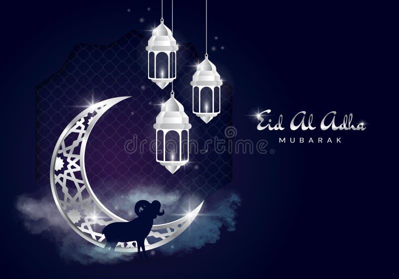 Feest van het Offer Arabisch: Eid al-Adha Mubarak Feast van het Offer Begroetende Turks: Kurban Bayraminiz Kutlu stock illustratie