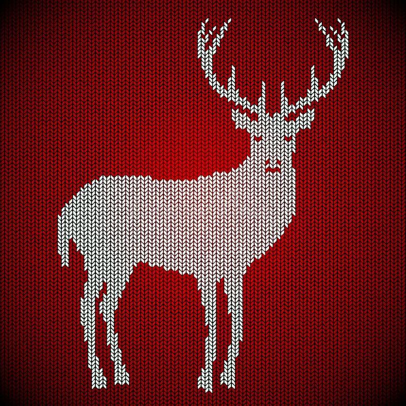 Feestdieachtergrond van wol wordt gebreid Tapijt, sweater Witte herten op een rode achtergrond royalty-vrije illustratie