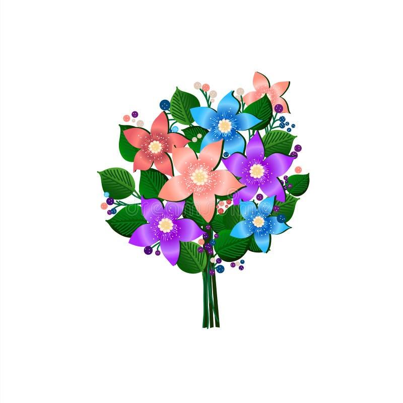 Feestelijk boeket van bloemen mooie vector op wit royalty-vrije illustratie
