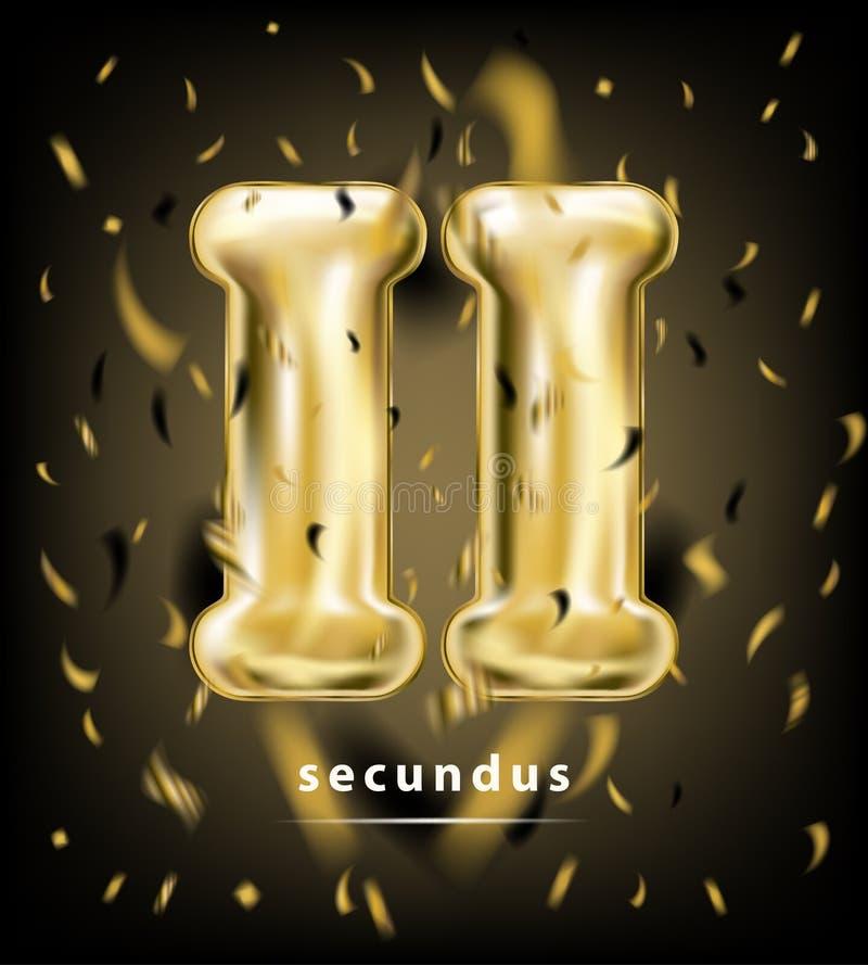 Feestelijk classificatie roman cijfer twee, gouden ballon en folieconfettien vector illustratie