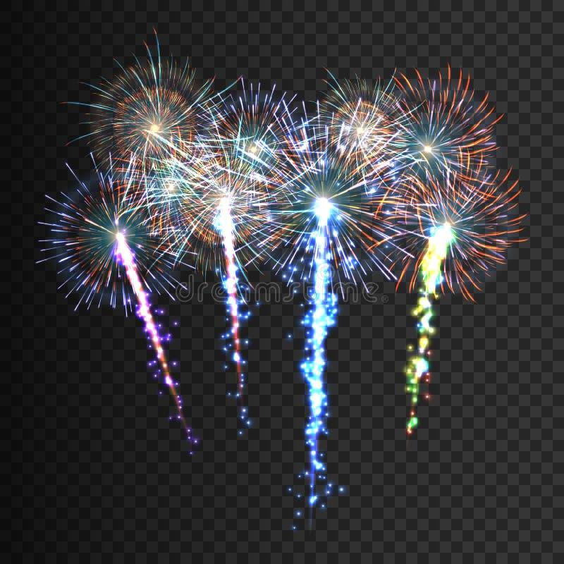 Feestelijk gevormd vuurwerk die in diverse vormen fonkelende die pictogrammen barsten tegen zwarte samenvatting worden geplaatst  vector illustratie