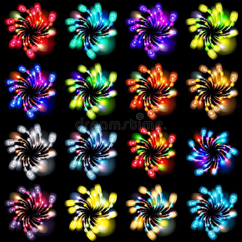 Feestelijk gevormd vuurwerk die in diverse vormen fonkelende pictogrammen barsten vector illustratie