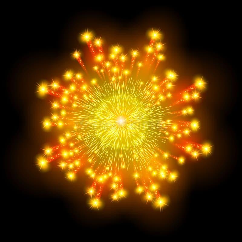 Feestelijk gevormd vuurwerk die in diverse vormen fonkelende pictogrammen barsten stock illustratie