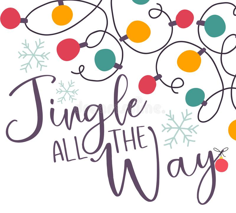 Feestelijk Jingle All de Manierkerstkaart vector illustratie