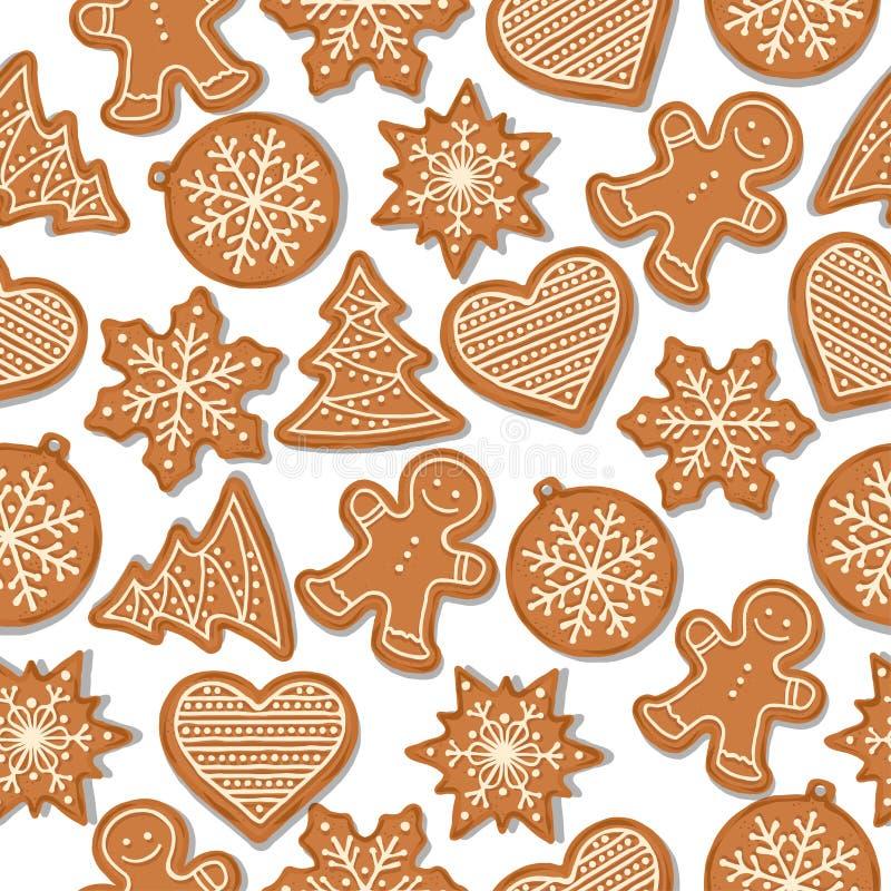 Feestelijk Kerstmis naadloos patroon met peperkoek stock illustratie