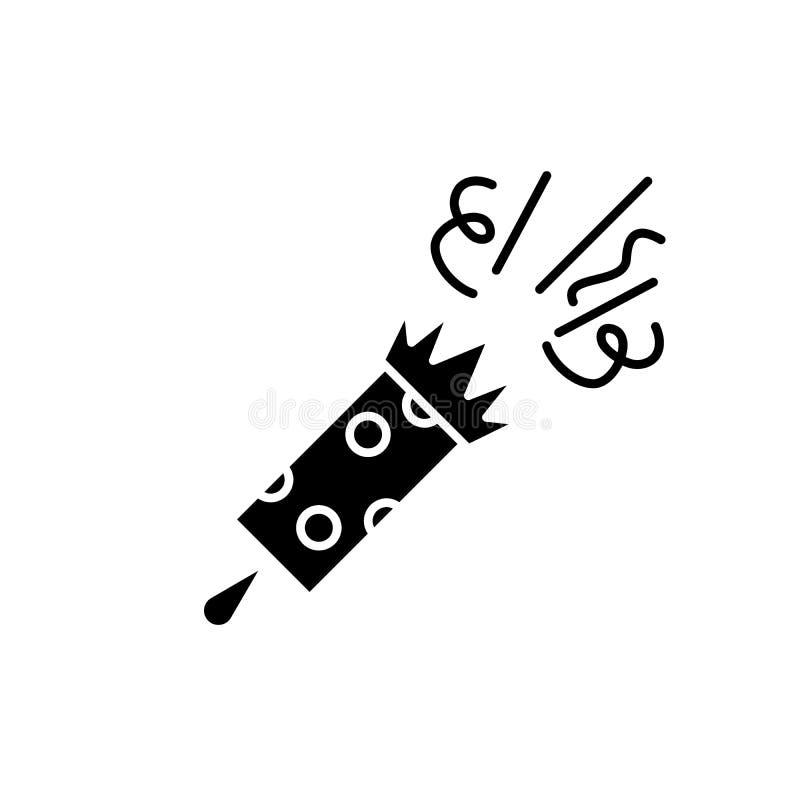 Feestelijk kleppen zwart pictogram, vectorteken op geïsoleerde achtergrond Het feestelijke symbool van het kleppenconcept, illust stock illustratie