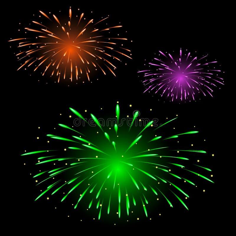 Feestelijk kleurrijk vuurwerk stock illustratie