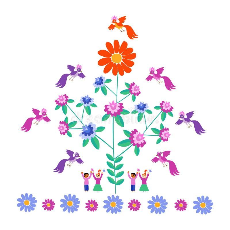 Feestelijk malplaatje voor borduurwerk Bloem - Zon, bloeiende boom, vogels en leuke beeldverhaalmensen stock illustratie