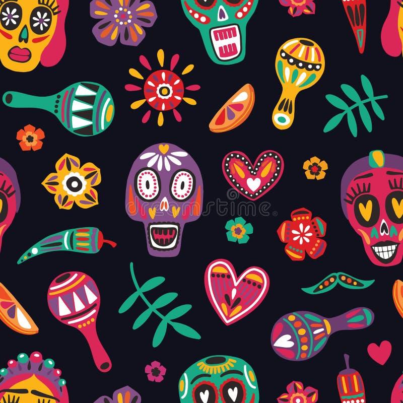 Feestelijk naadloos patroon met decoratieve schedels, het gezicht van Catrina, bloemen, Spaanse peperpeper, maracas op zwarte ach stock illustratie