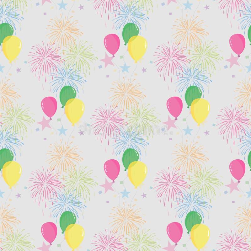 Feestelijk naadloos patroon met kleurrijk ballons en vuurwerk vakantieontwerp vector illustratie