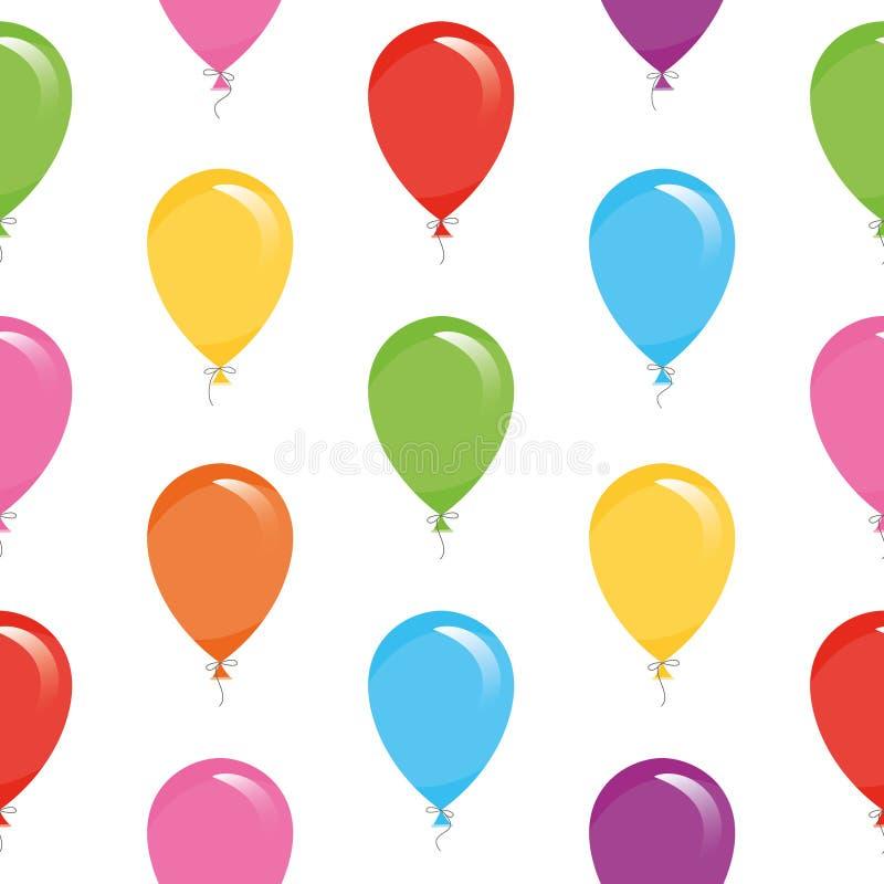 Feestelijk naadloos patroon met kleurrijke ballons Voor verjaardag, babydouche, vakantieontwerp stock illustratie