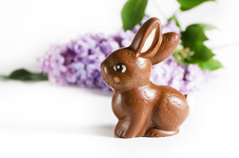 Feestelijk stilleven met Chocoladepaashaas en lilac bloemen stock foto's