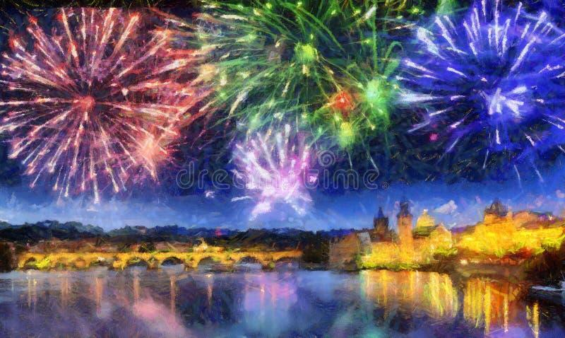 Feestelijk vuurwerk over Charles Bridge, Praag, Tsjechische Republiek stock fotografie