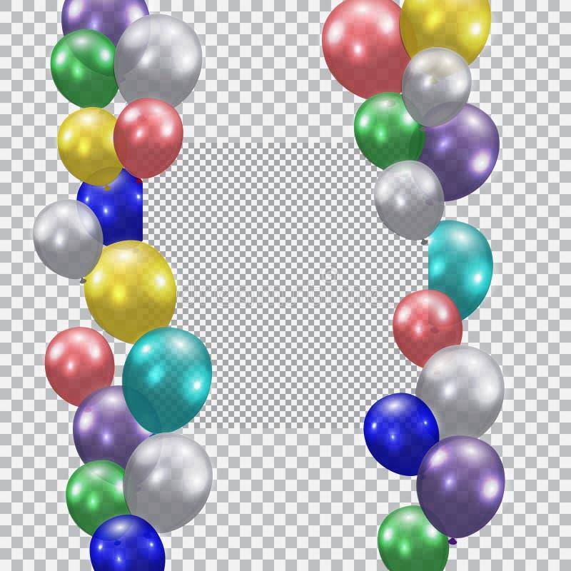 Feestelijke ballons Realistisch, semi-transparent, kleurrijk Plaats voor advertenties of reclamespots Geruite achtergrond vector illustratie